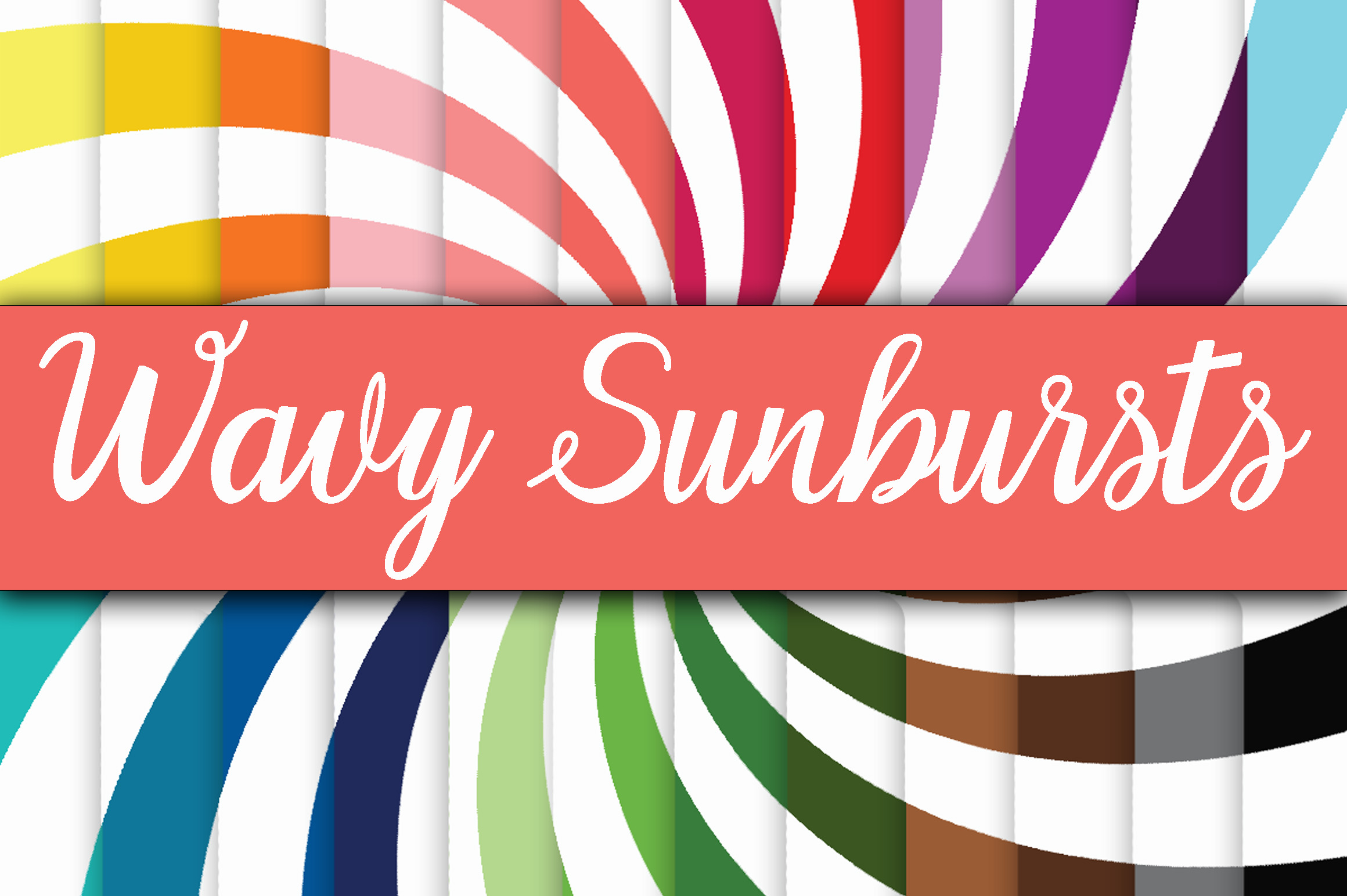 Print on Demand: Wavy Sunbursts Digital Paper Graphic Backgrounds By oldmarketdesigns
