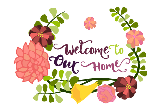 Welcome to Our Home Floral Wreath 2 Doors Signs Craft Cut File By Creative Fabrica Crafts
