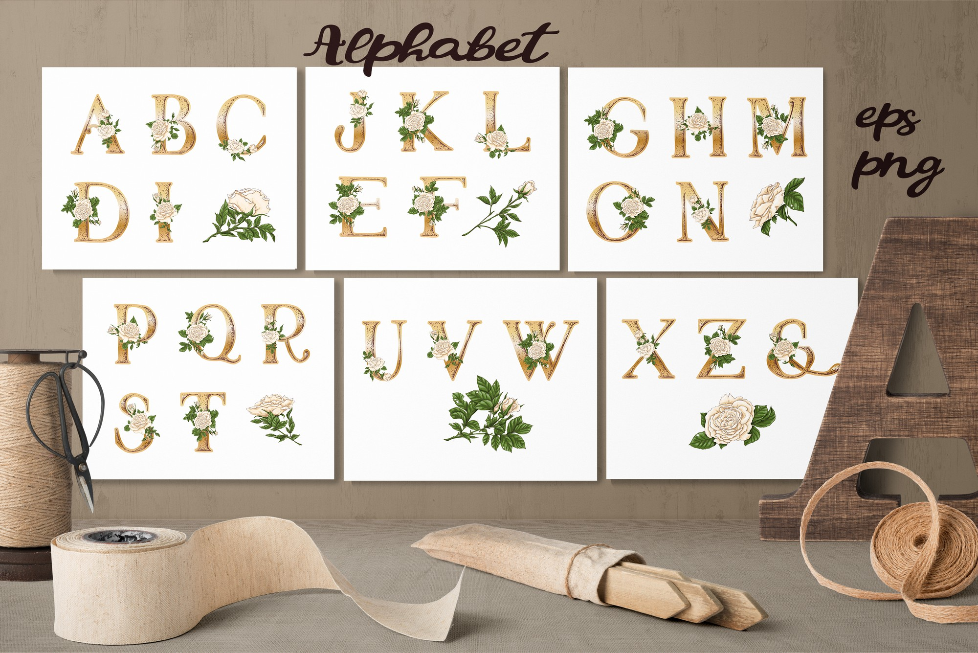 Print on Demand: White Roses – Vector Alphabets Set Graphic Illustrations By nicjulia