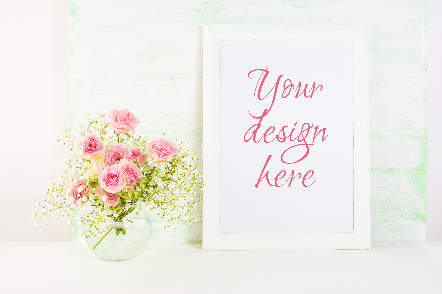 White Frame Mockup with  Pink Rose Flowers Graphic By TasiPas