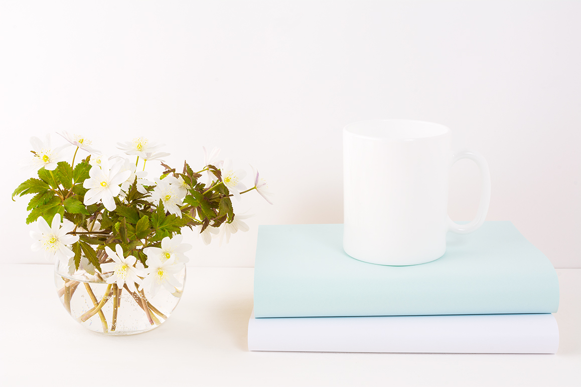 Print on Demand: White Mug Mockup with Rue Anemone Flowers Graphic Product Mockups By TasiPas - Image 2
