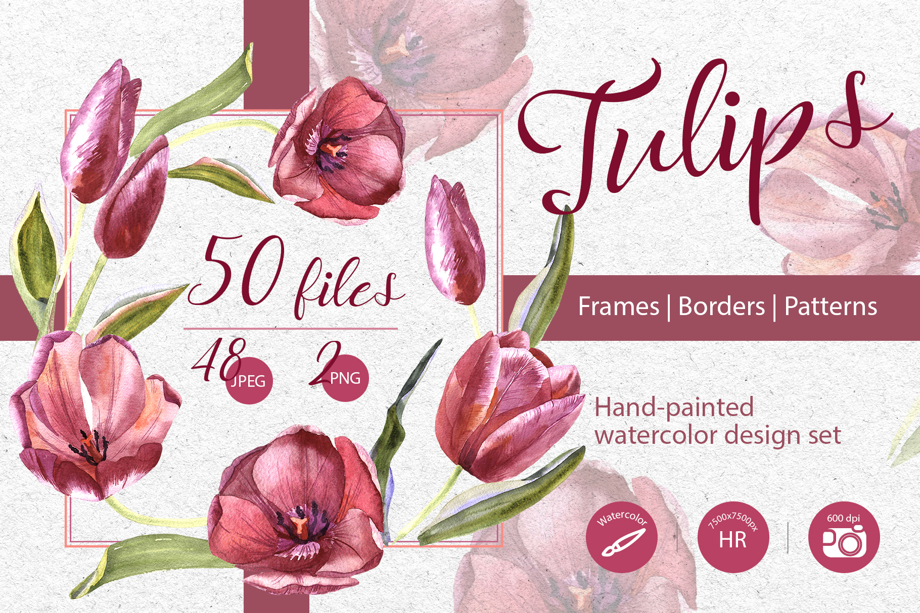 Download Free Wildflower Red Tulips Watercolor Set Graphic By Mystocks for Cricut Explore, Silhouette and other cutting machines.