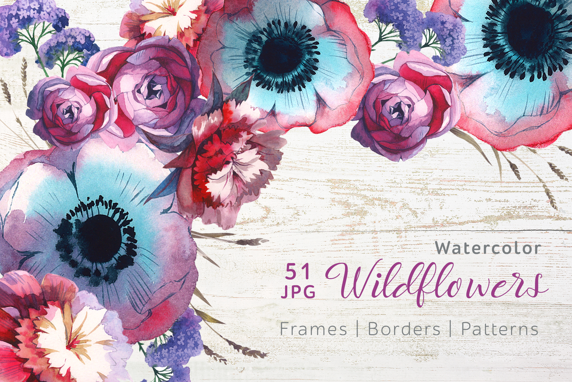 Print on Demand: Wildflowers JPG Watercolor Set Graphic Illustrations By MyStocks