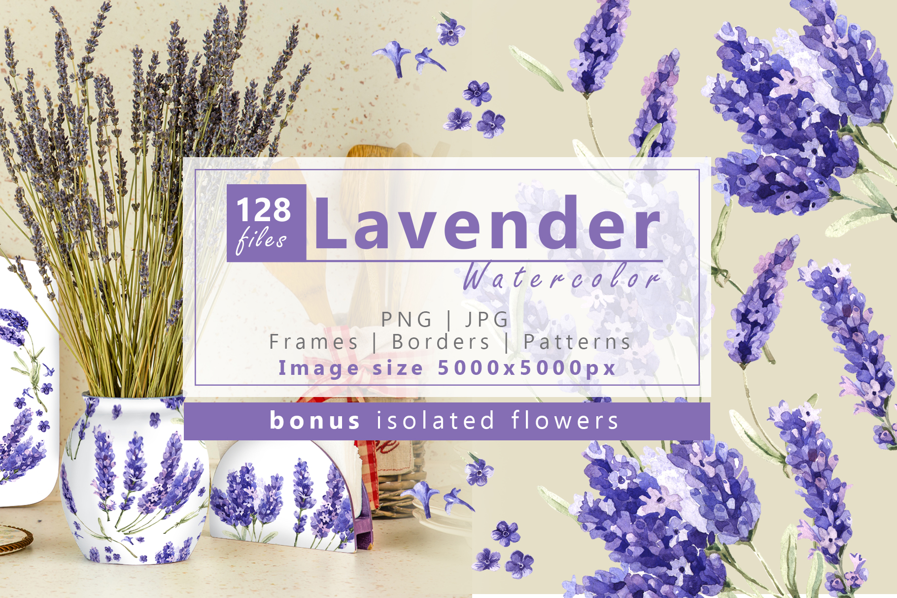 Print on Demand: Wildflowers Lavender Watercolor Set Graphic Illustrations By MyStocks