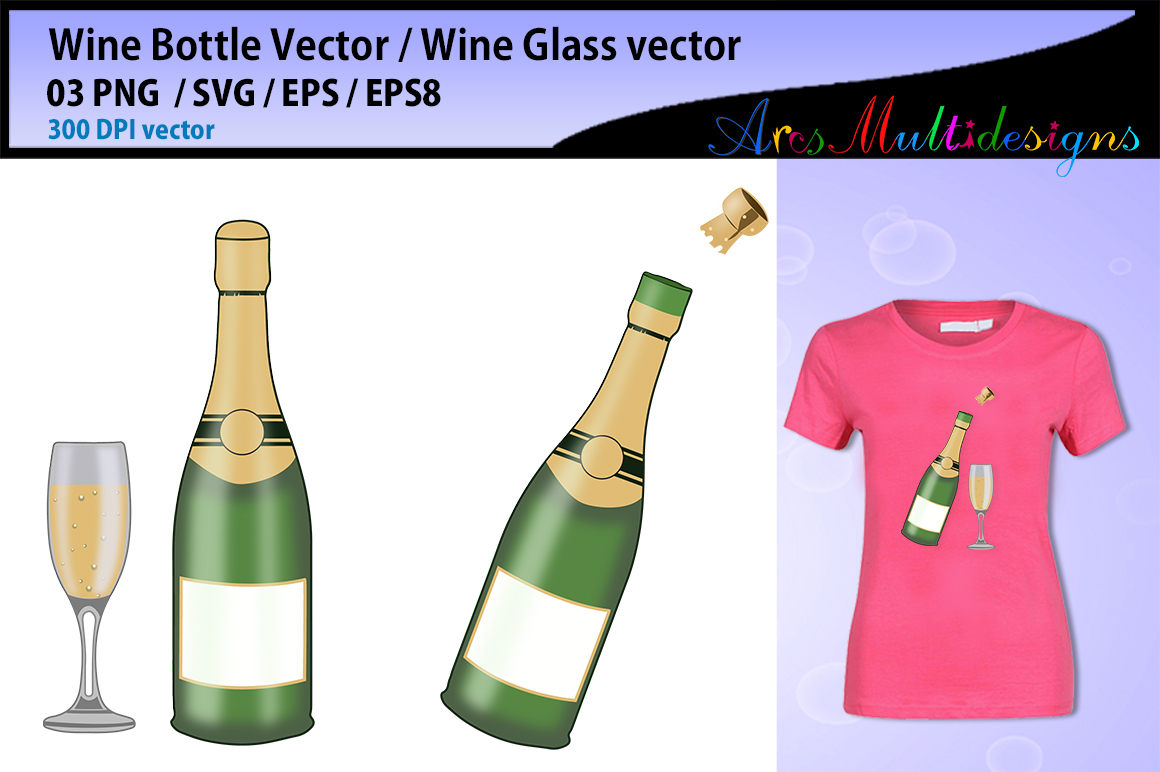 Download Free Wine Bottle Vector Graphic By Arcs Multidesigns Creative Fabrica for Cricut Explore, Silhouette and other cutting machines.
