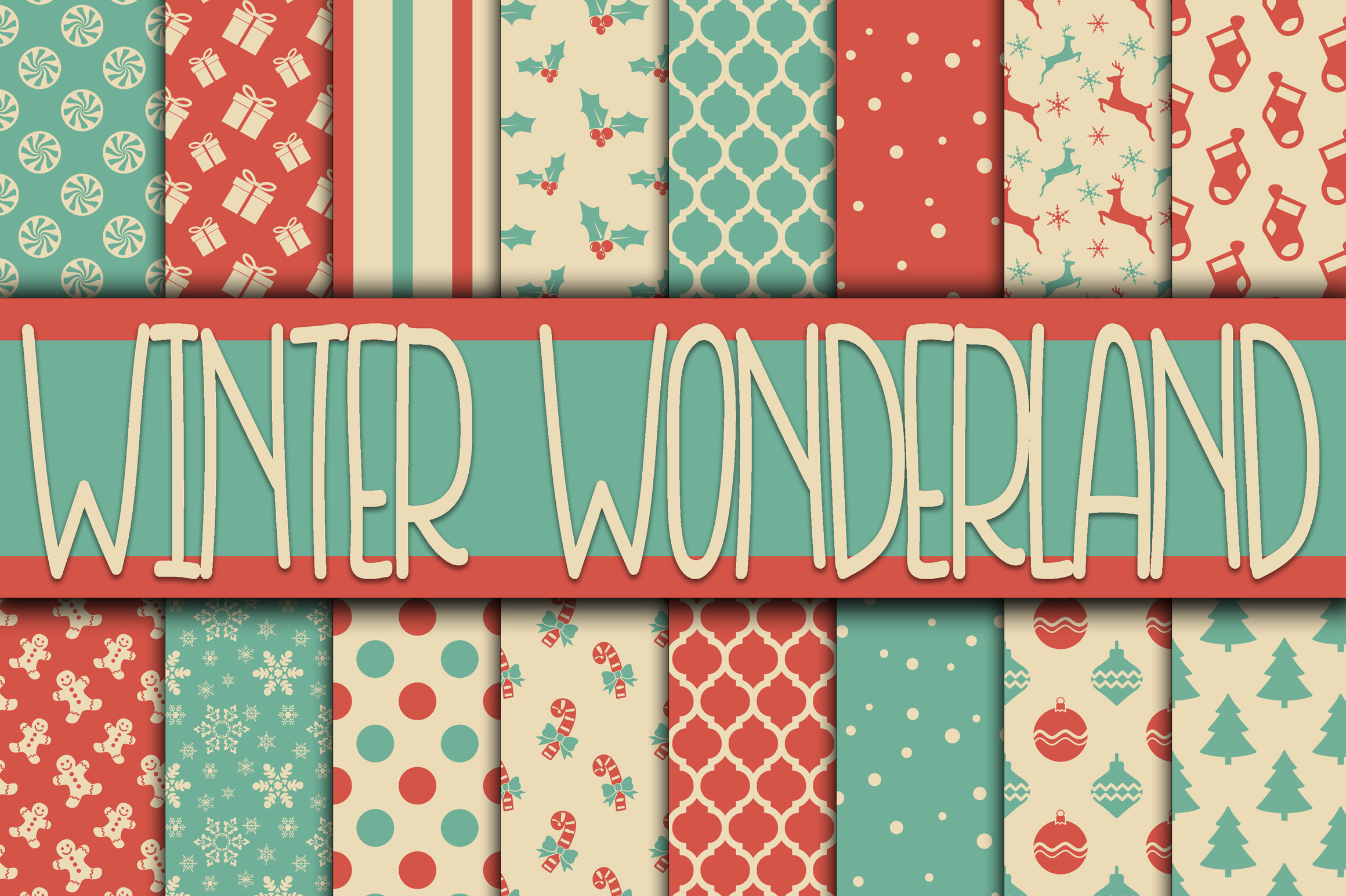Download Free Winter Wonderland Christmas Digital Paper Graphic By for Cricut Explore, Silhouette and other cutting machines.