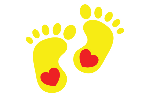 Yellow Baby Feet Silhouette Svg Cut File By Creative Fabrica