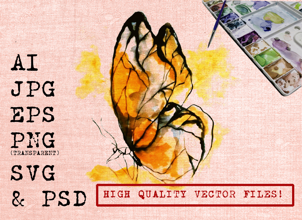 Yellow Butterfly Watercolor Graphic Illustrations By Ambar Art