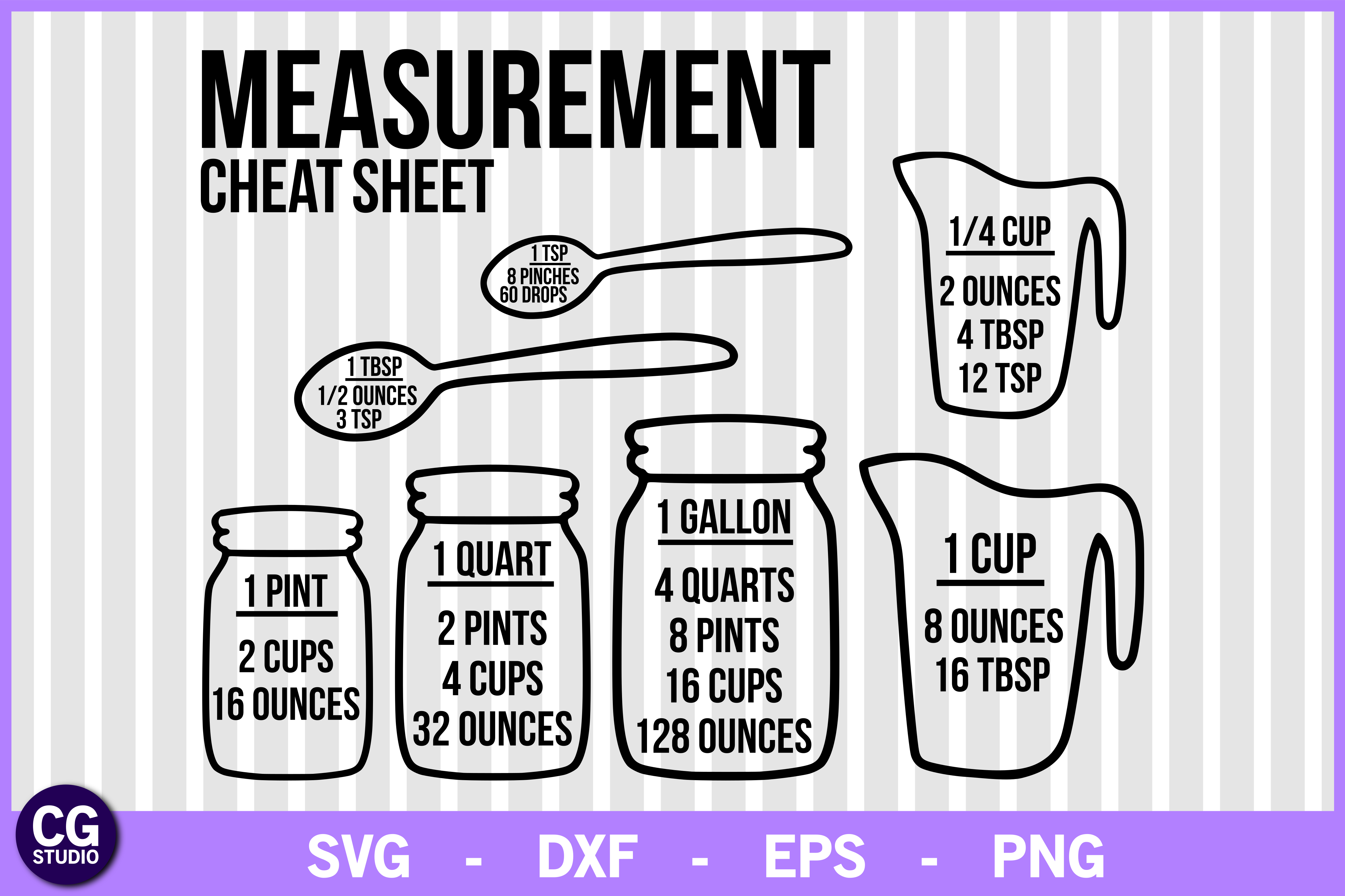 Download Free Measurement Cheat Sheet Svg Graphic By Crystalgiftsstudio for Cricut Explore, Silhouette and other cutting machines.