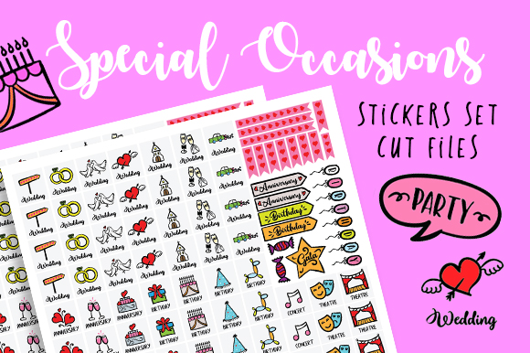 Special Occasions Planner Sticker Set Planner Craft Cut File By Creative Fabrica Crafts