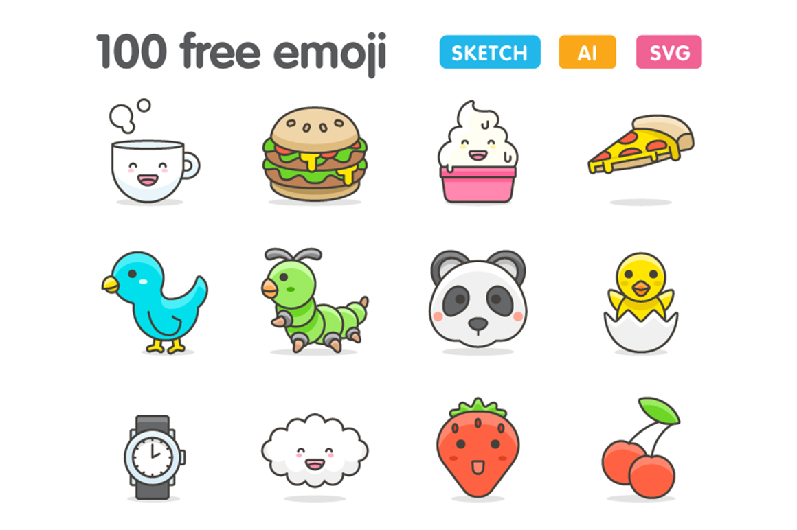 100 Cute Emojis! Graphic Icons By Creative Fabrica Freebies