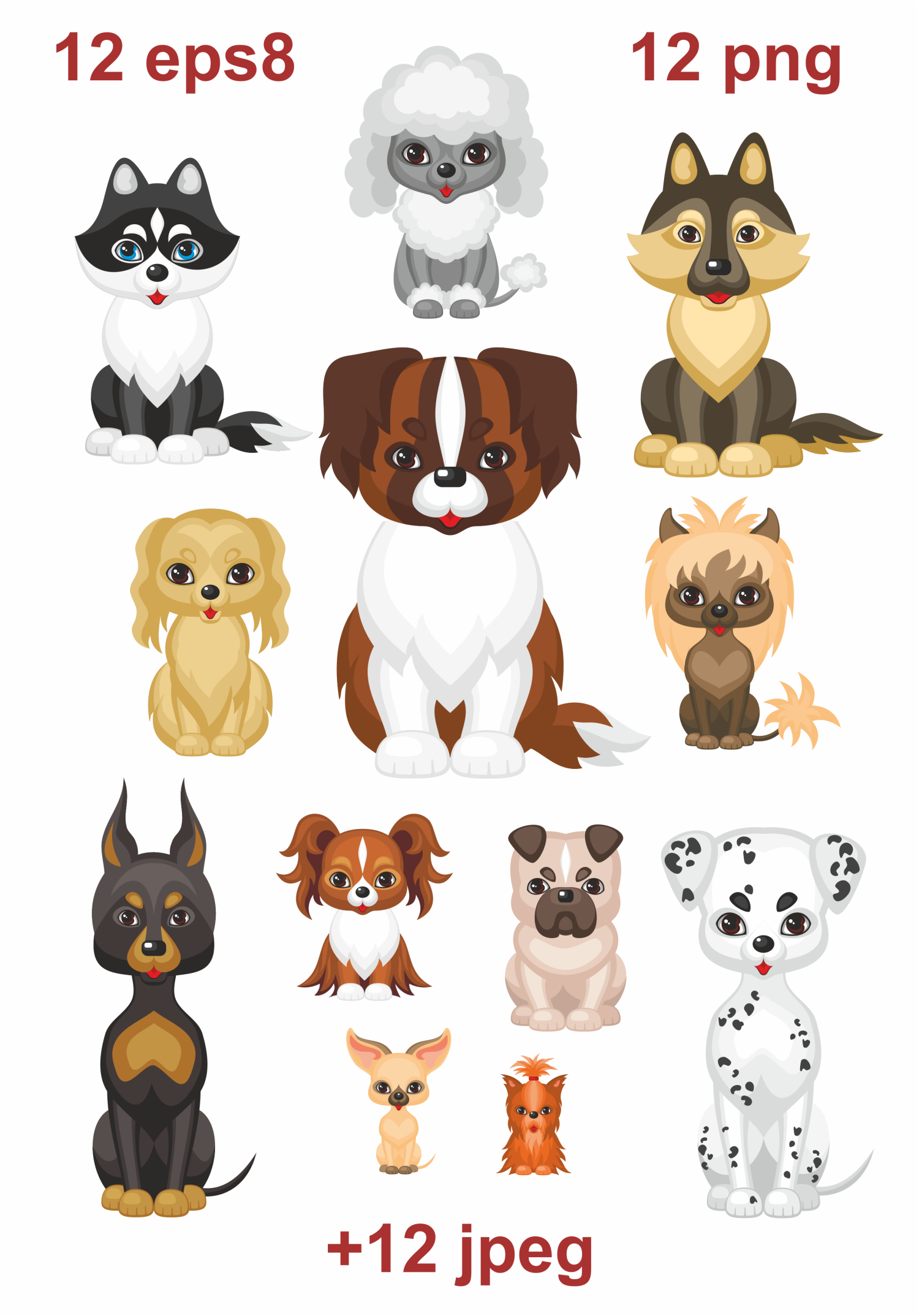 Download Free 12 Cute Doggies Vector Clipart Graphic By Olga Belova Creative for Cricut Explore, Silhouette and other cutting machines.