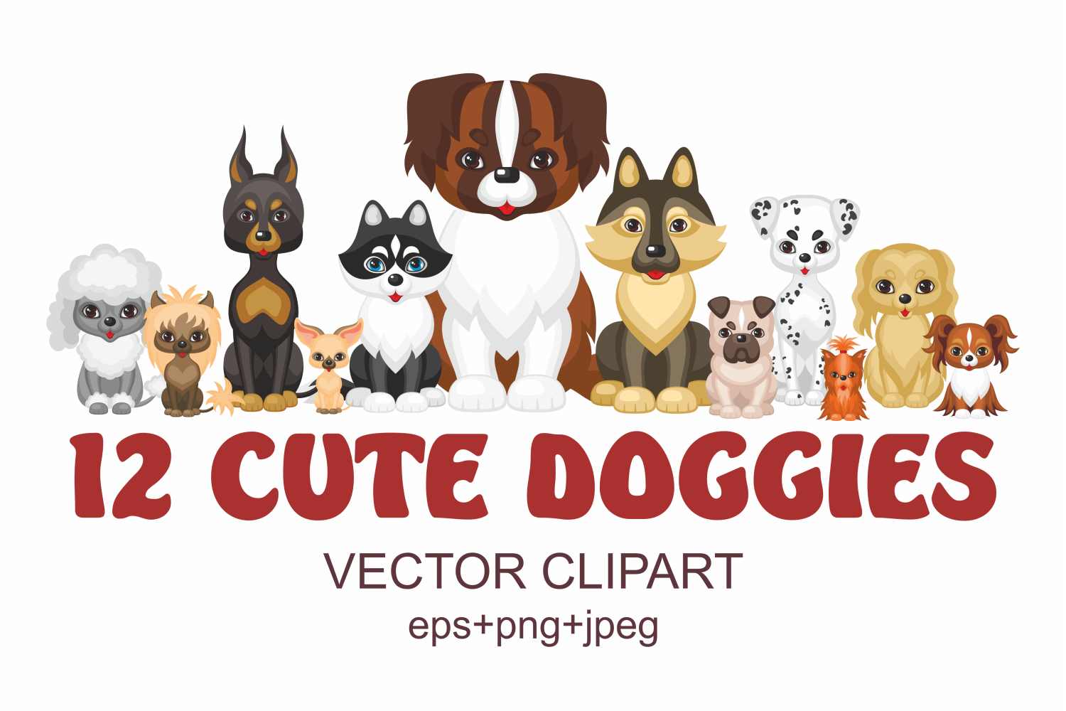 Print on Demand: 12 Cute Doggies Vector Clipart Graphic Illustrations By Olga Belova