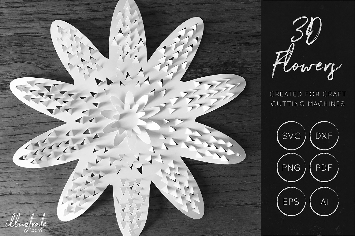 Print on Demand: 3D Flower Cut File - Floral SVG Graphic Crafts By illuztrate