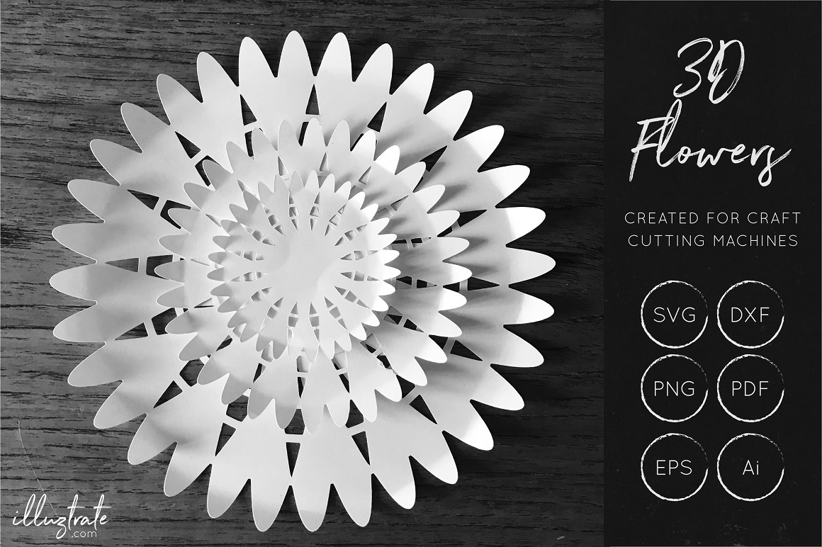 Download Free 3d Flower Cut File Floral Svg Graphic By Illuztrate Creative for Cricut Explore, Silhouette and other cutting machines.