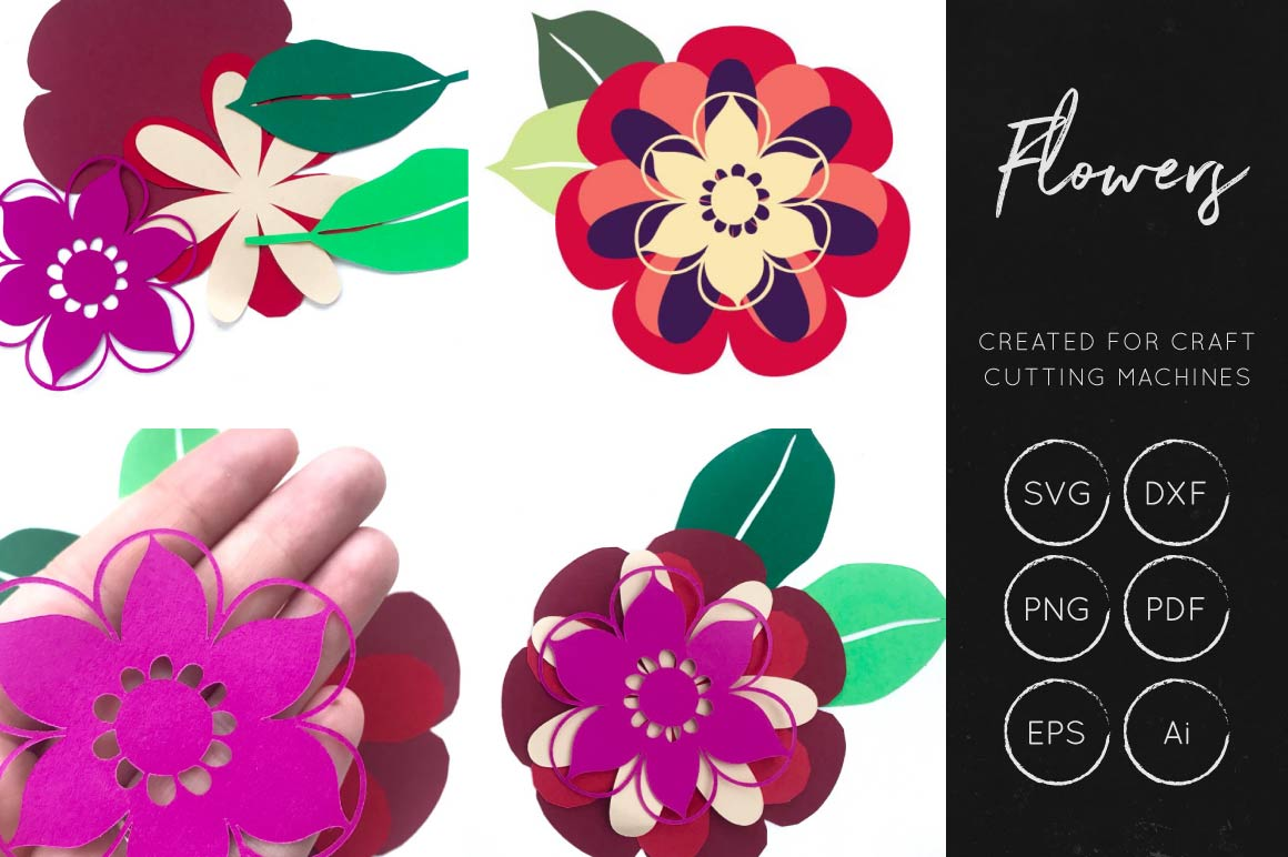 Print on Demand: 3D Flower Cut File Graphic 3D Flowers By illuztrate