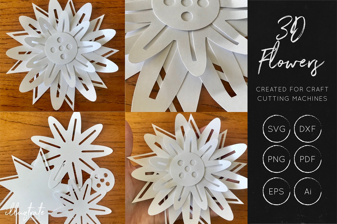 Print on Demand: 3D Flower SVG - Cut Files Graphic Crafts By illuztrate - Image 2