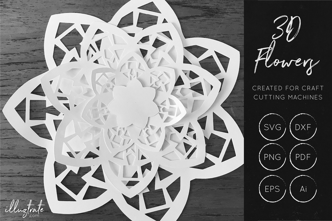 Print on Demand: 3D Flower SVG - Cut Files Graphic Crafts By illuztrate
