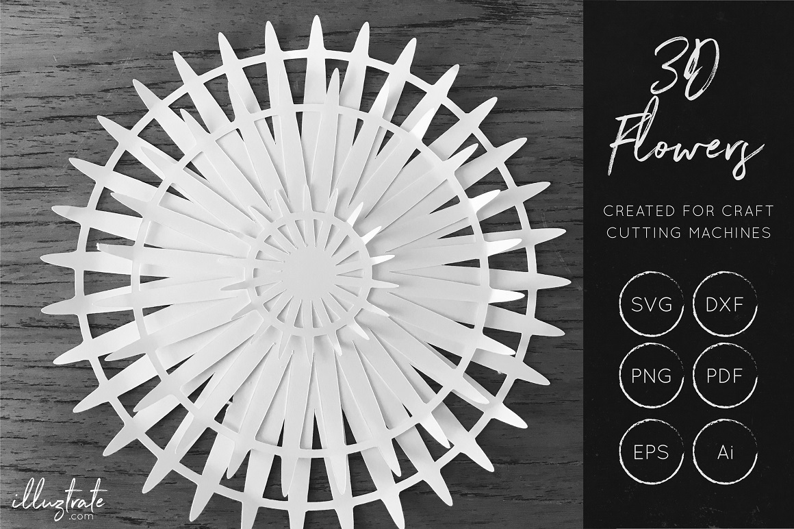 Print on Demand: 3D Flower - Cut Files Gráfico Flores en 3D Por illuztrate