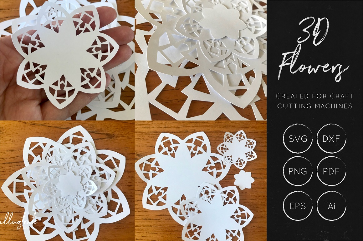 Download Free 3d Flower Svg Cut Files Graphic By Illuztrate Creative Fabrica for Cricut Explore, Silhouette and other cutting machines.