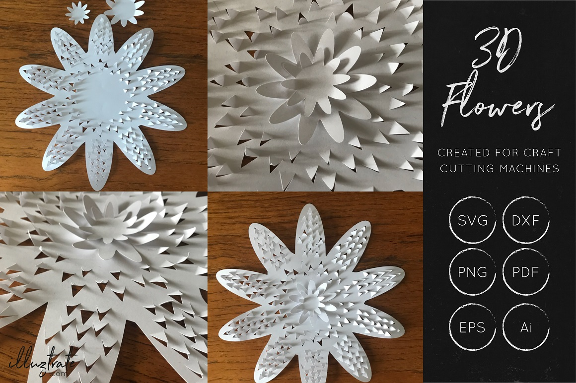 Download Free 3d Flowers Bundle Graphic By Illuztrate Creative Fabrica for Cricut Explore, Silhouette and other cutting machines.