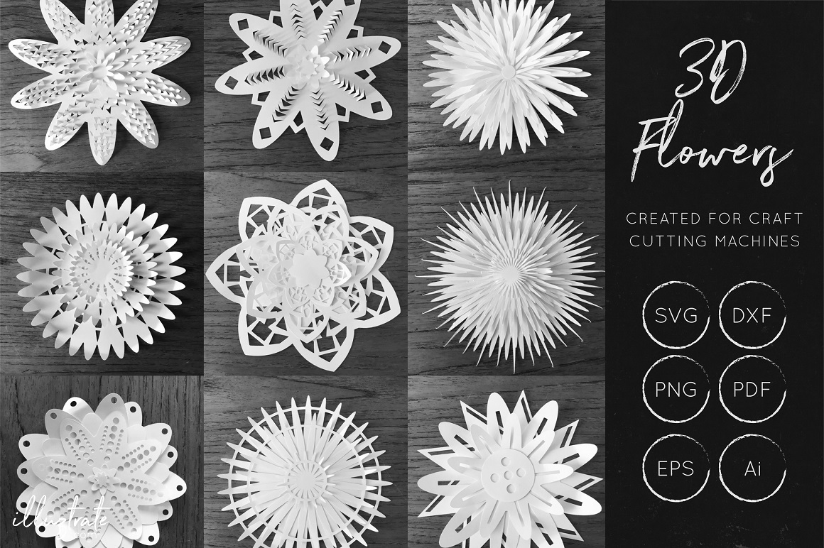 Print on Demand: 3D Flowers SVG Bundle - 9 SVG Flowers Graphic Crafts By illuztrate
