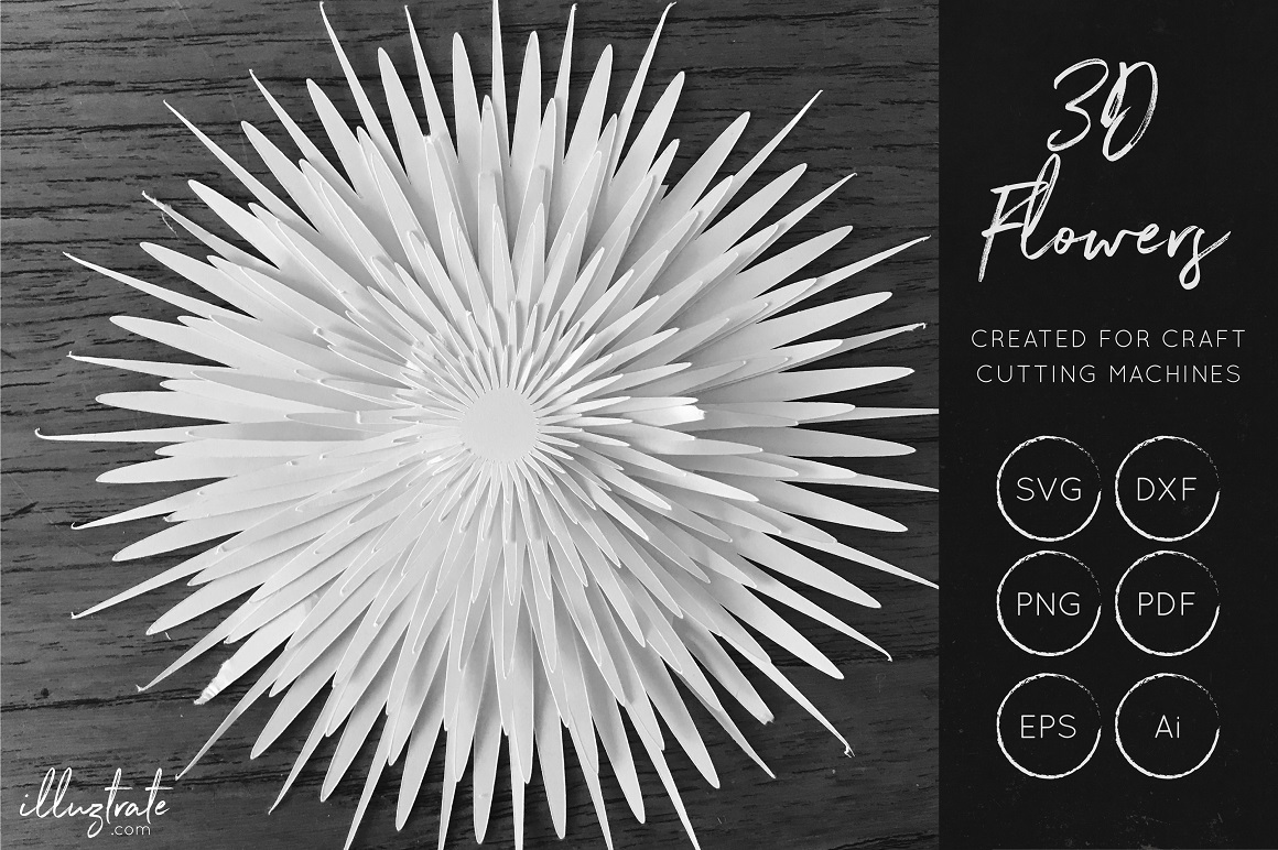 Print on Demand: 3D Layered Flower SCG Cut File Graphic Crafts By illuztrate