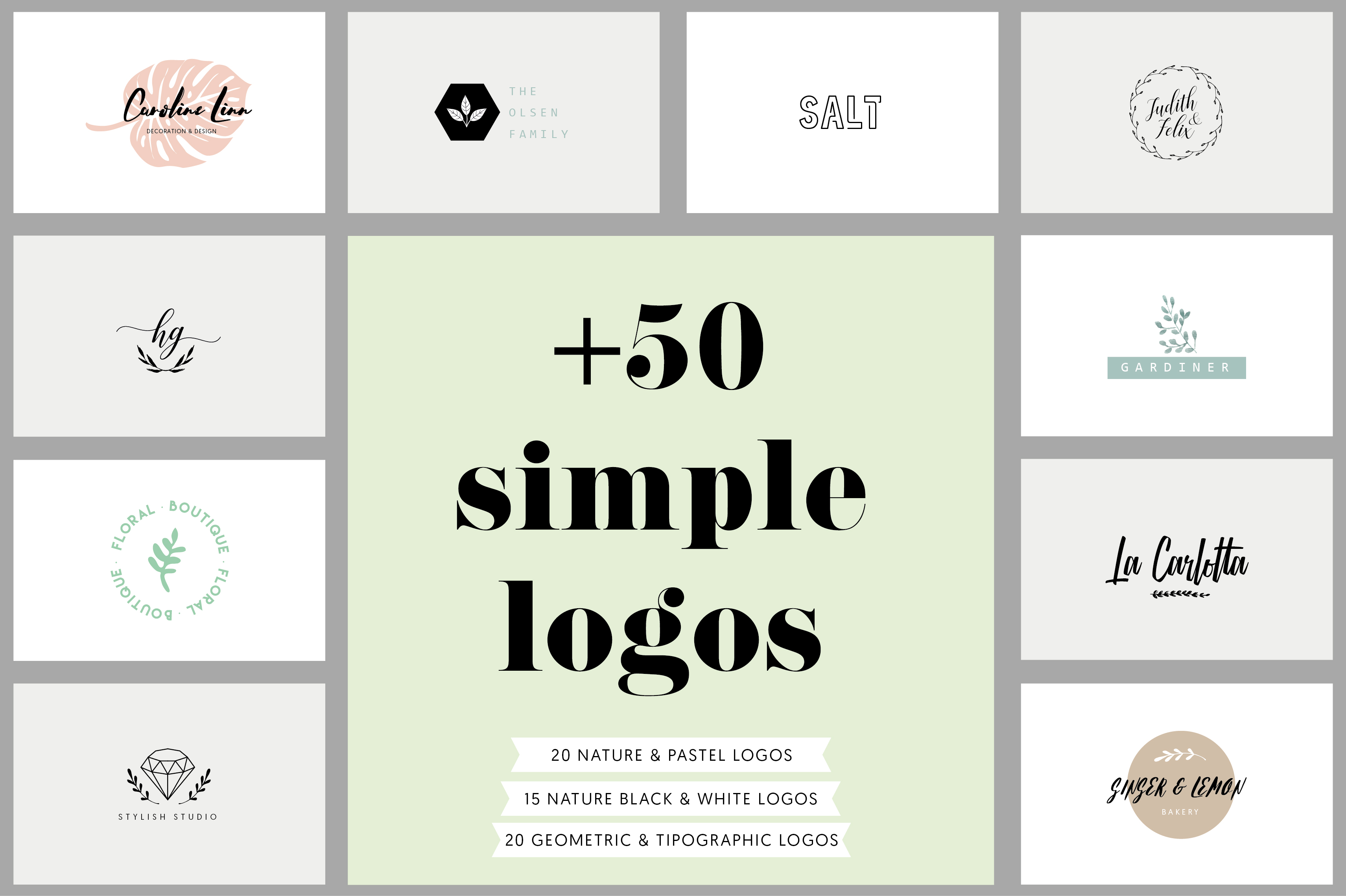 50+ Simple Logos Templates Graphic Logos By anisillustration
