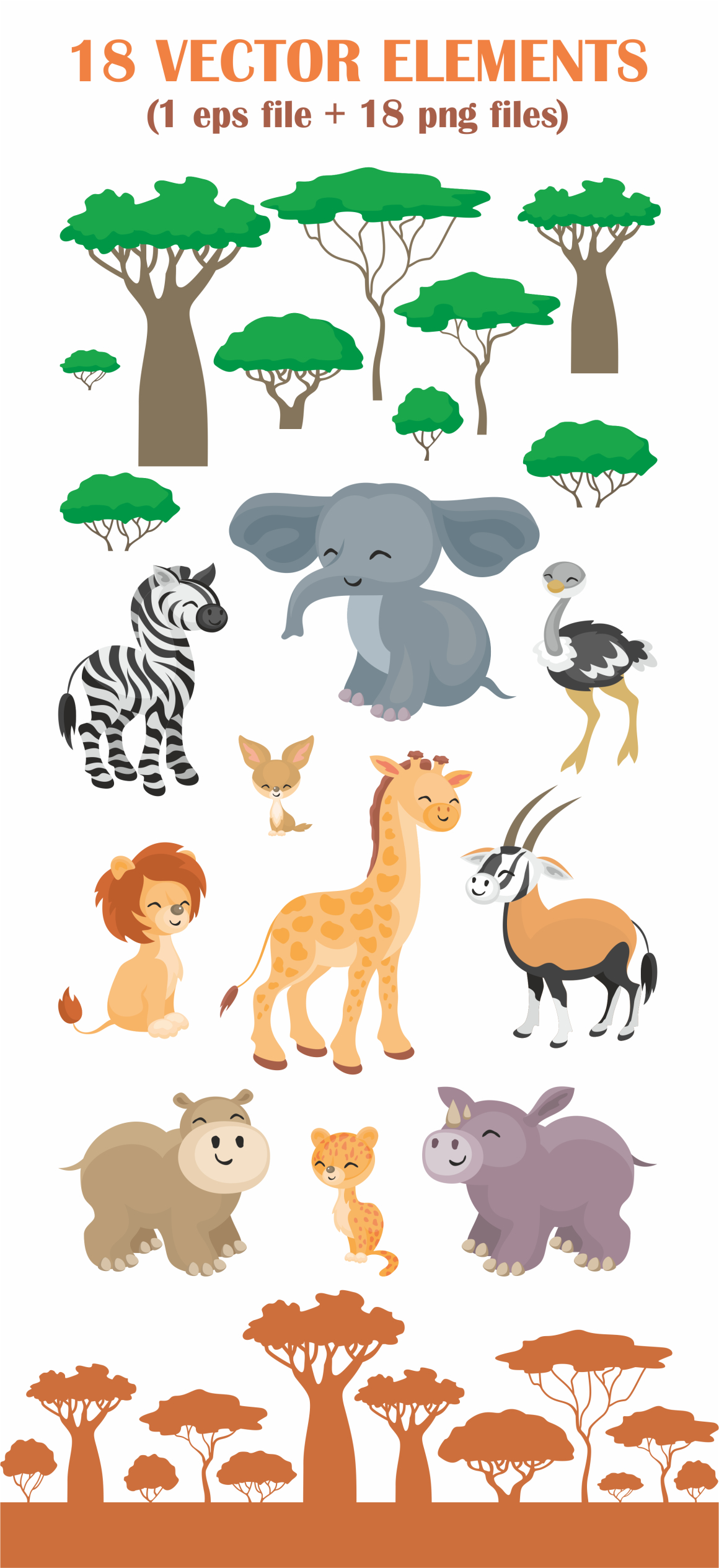 Print on Demand: African Animals and Plants Vector Clip Arts Graphic Illustrations By Olga Belova - Image 2