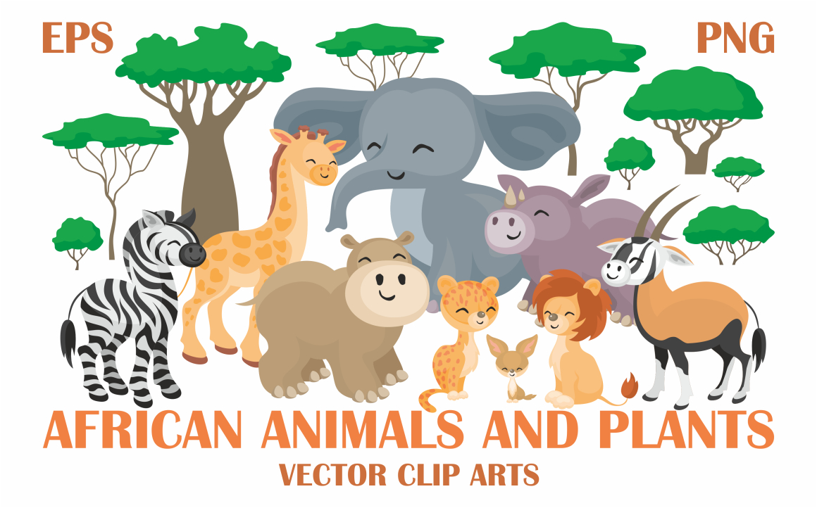 Print on Demand: African Animals and Plants Vector Clip Arts Graphic Illustrations By Olga Belova - Image 1