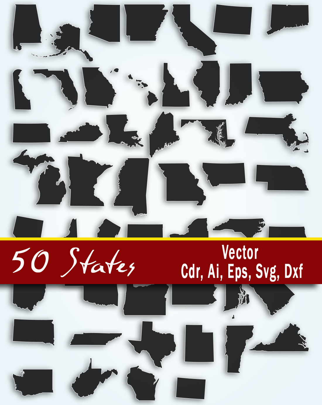 Download Free All U S States Vector Art Graphic By Vector City Skyline for Cricut Explore, Silhouette and other cutting machines.