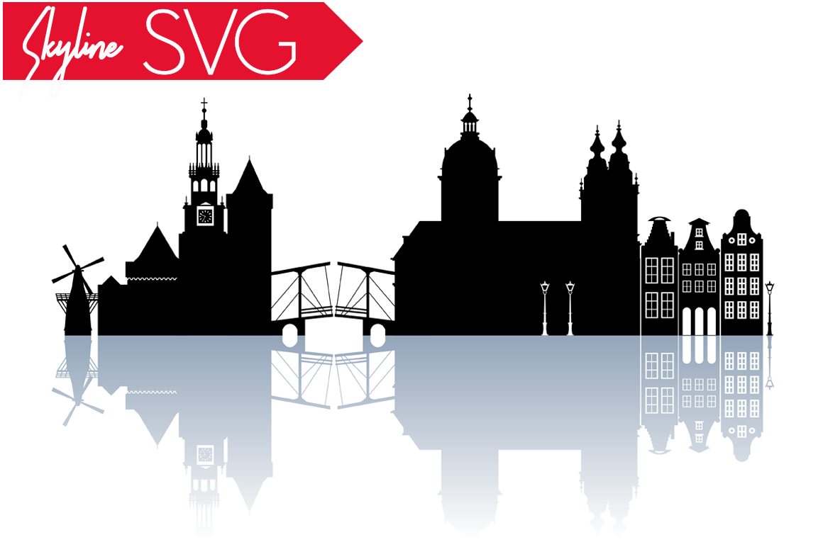 Download Free Amsterdam City Silhouette Skyline Vector Graphic By Vector City for Cricut Explore, Silhouette and other cutting machines.