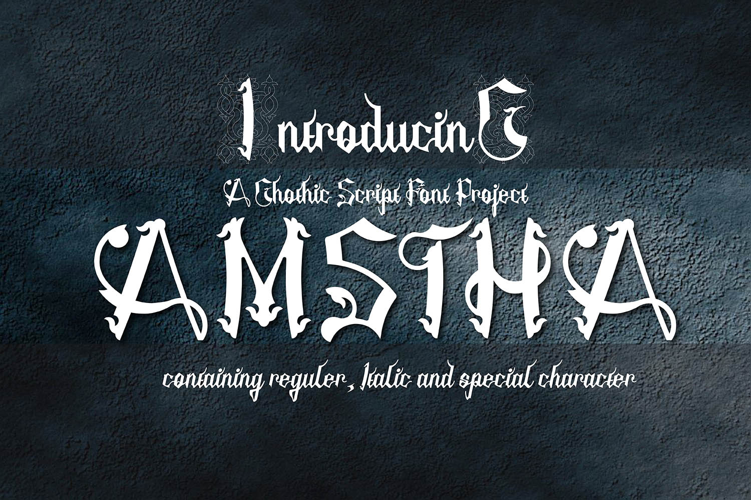 Print on Demand: Amstha Blackletter Font By 38.lineart
