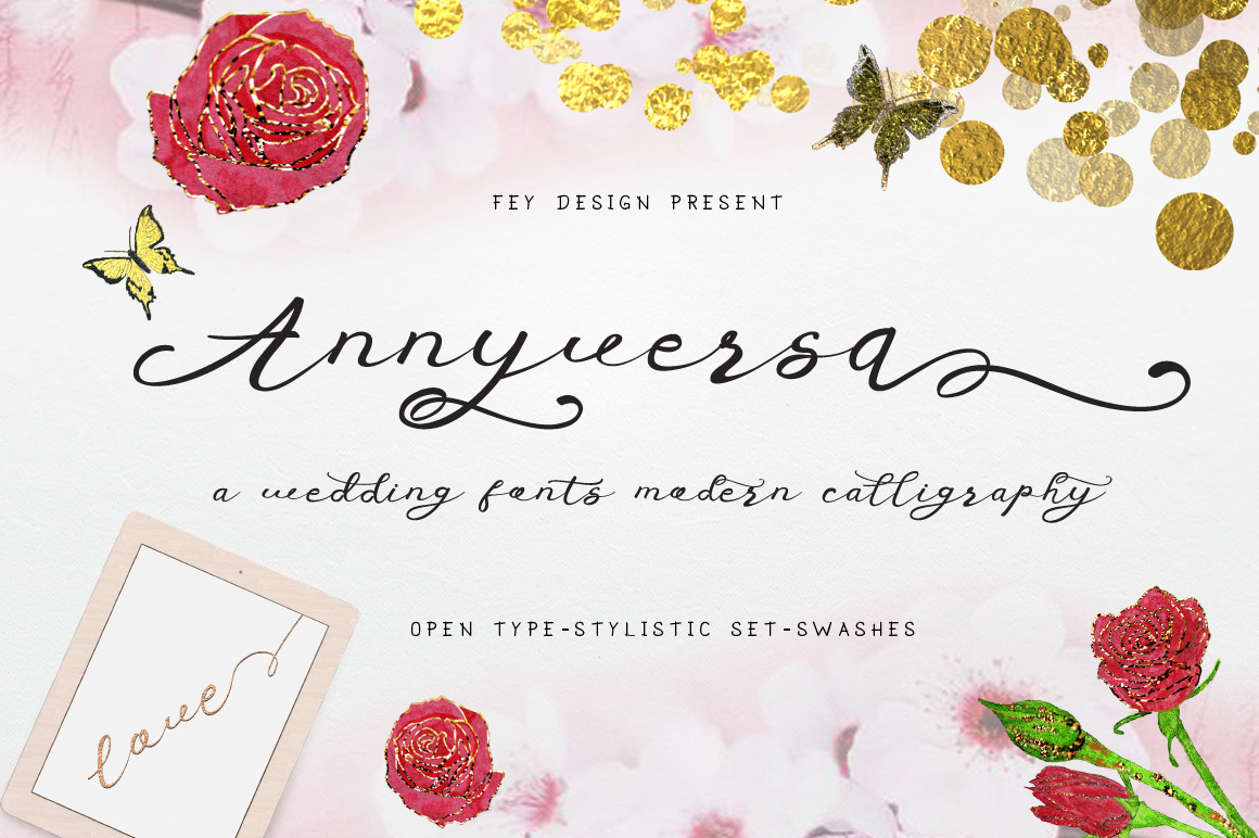 Print on Demand: Anniversa Script & Handwritten Font By feydesign