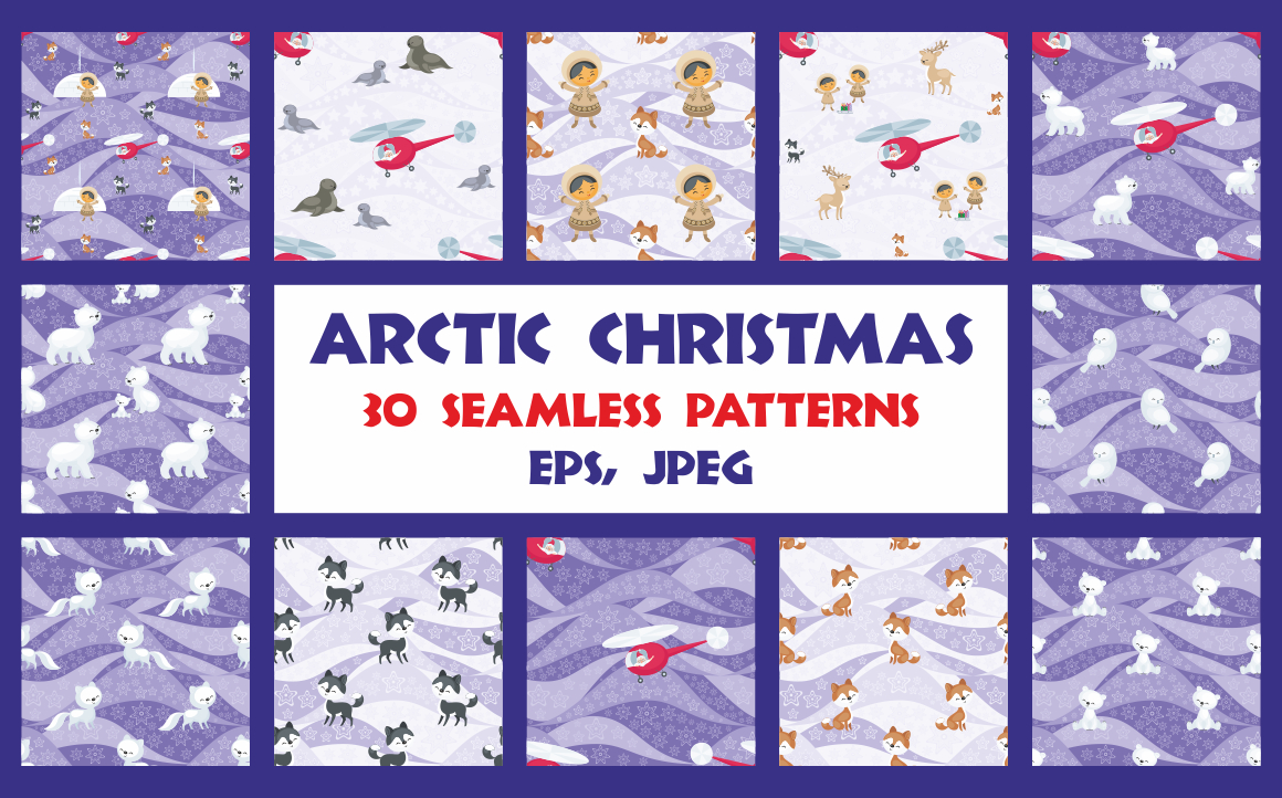 Print on Demand: Arctic Christmas Seamless Patterns Set Graphic Patterns By Olga Belova