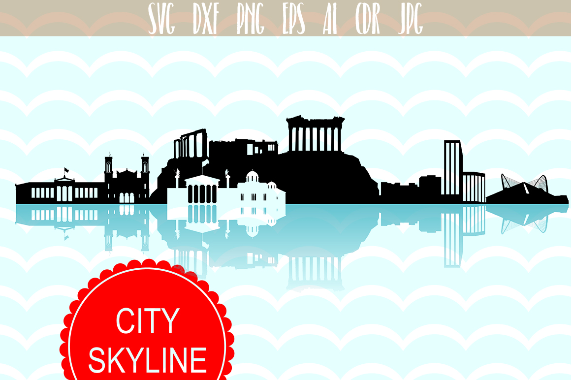 Download Free Athens Skyline Graphic By Vector City Skyline Creative Fabrica for Cricut Explore, Silhouette and other cutting machines.