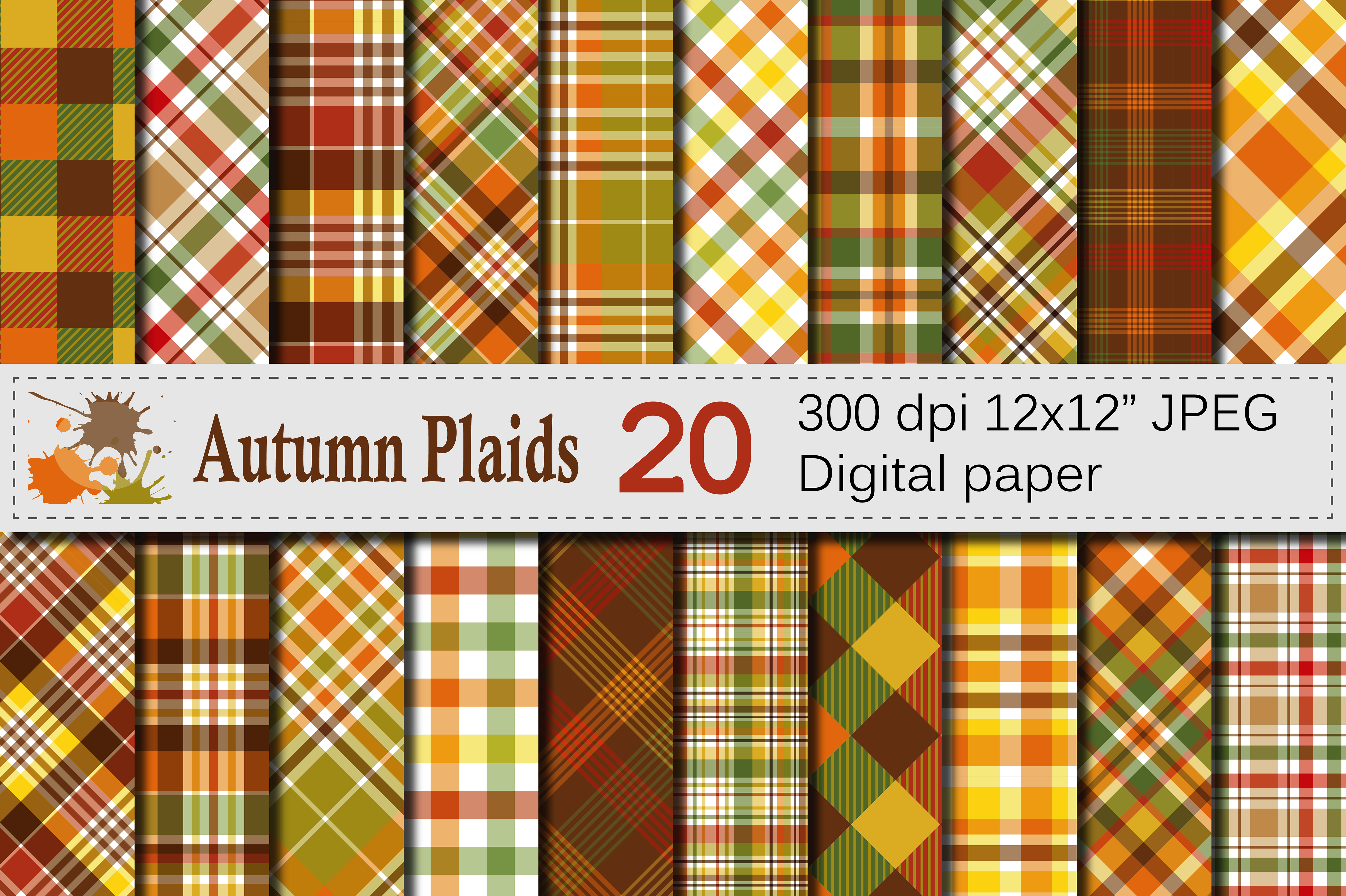 Autumn Plaid Digital Paper - Fall Plaid Backgrounds Graphic Backgrounds By VR Digital Design - Image 1