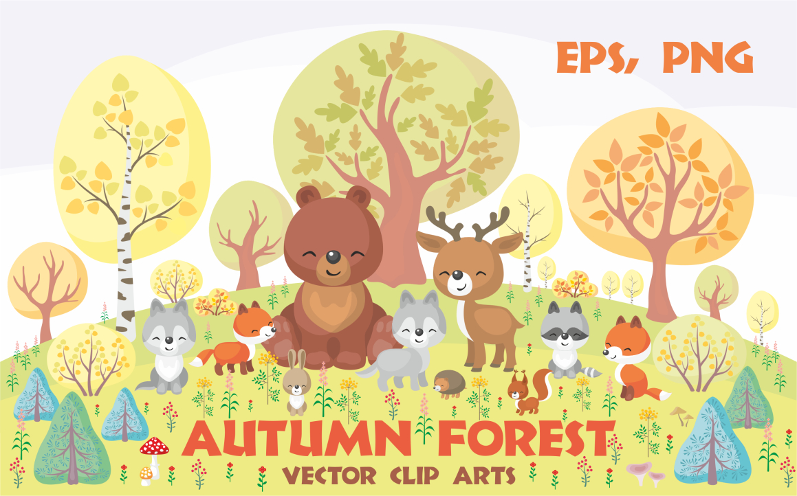 Print on Demand: Autumn Forest, Cute Animals and Plants Graphic Illustrations By Olga Belova