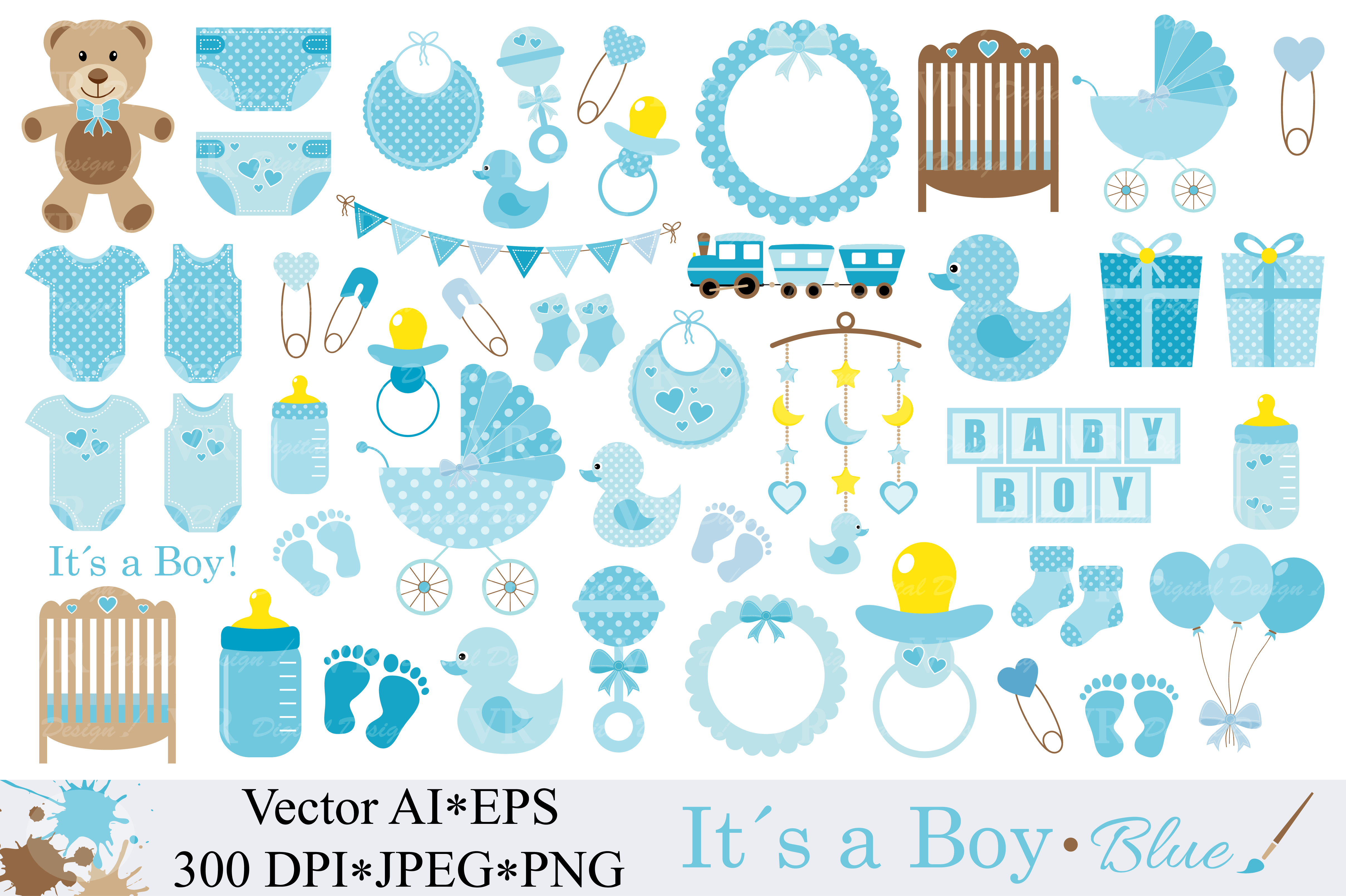 Baby Boy Clipart Graphic Illustrations By VR Digital Design