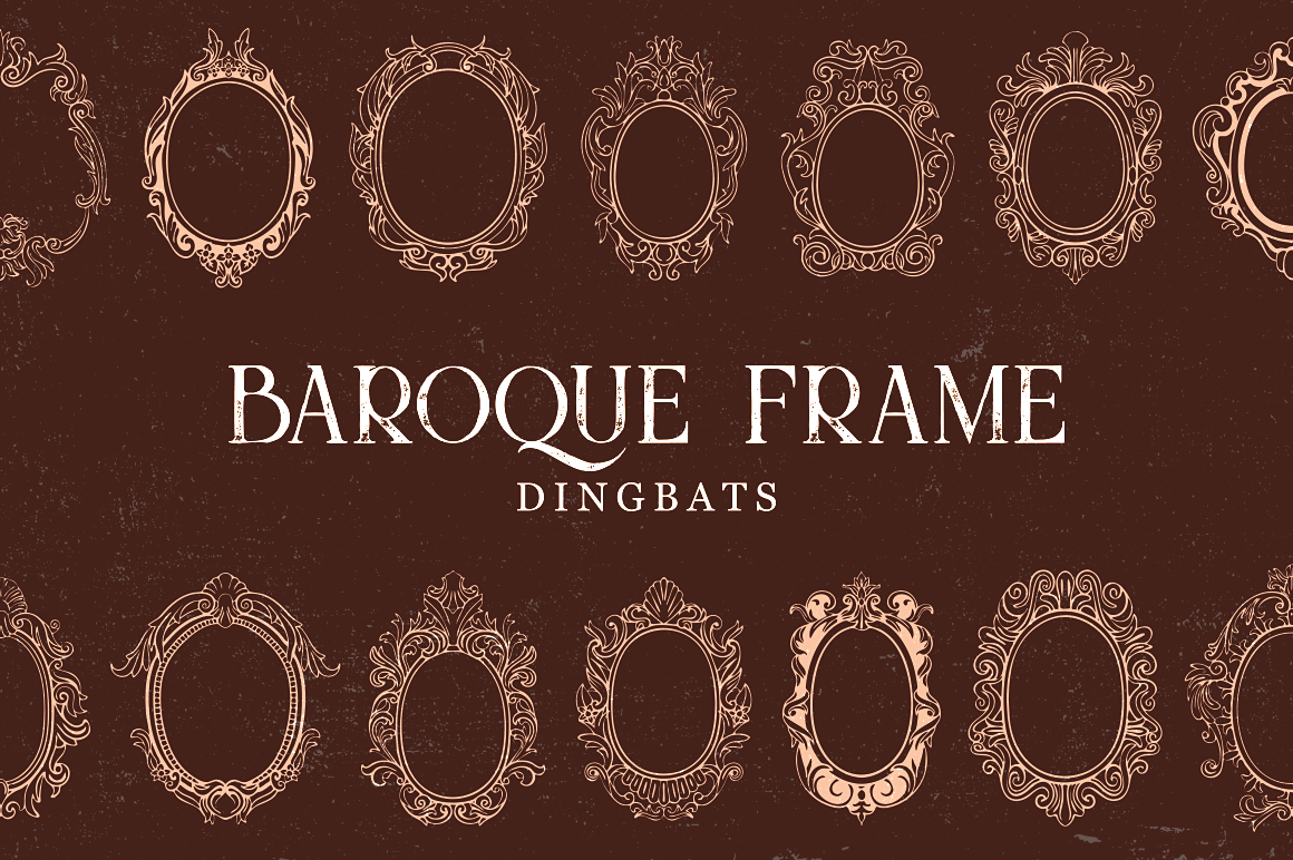 Print on Demand: Baroque Frame Dingbat Dingbats Font By Creative Fabrica Fonts