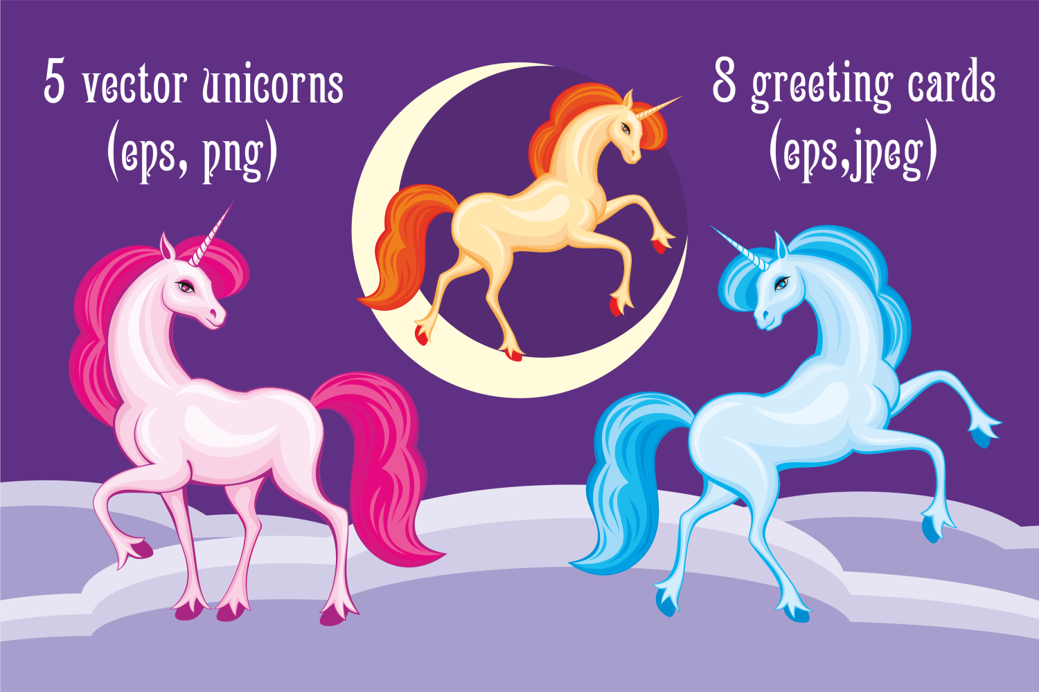 Print on Demand: Beautiful Unicorns Vector Set Graphic Illustrations By Olga Belova