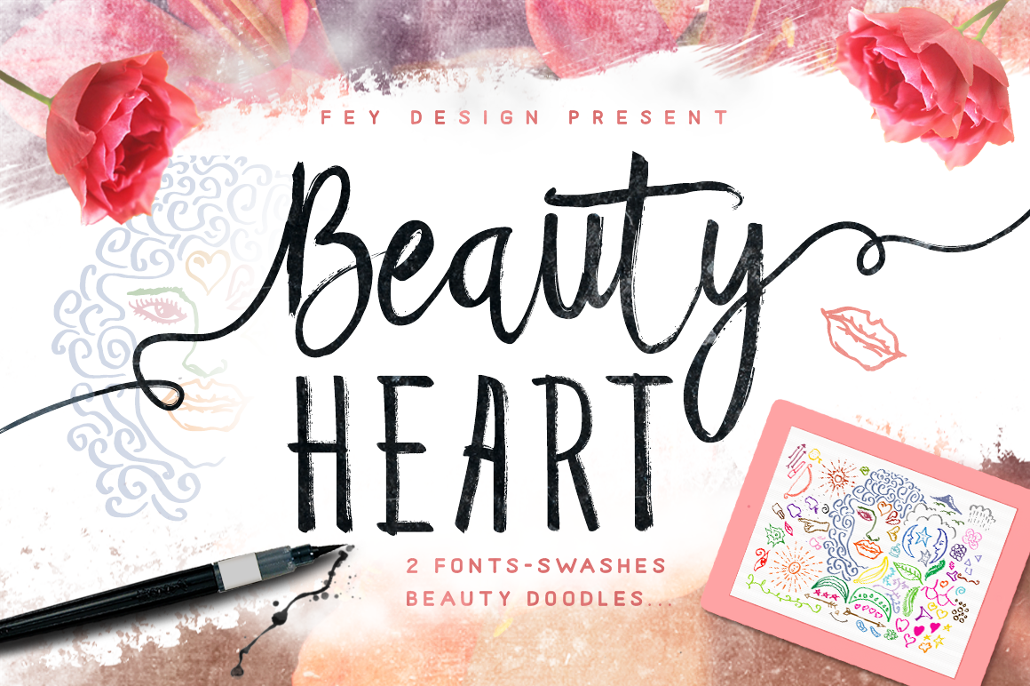 Print on Demand: Beauty Heart Script & Handwritten Font By feydesign