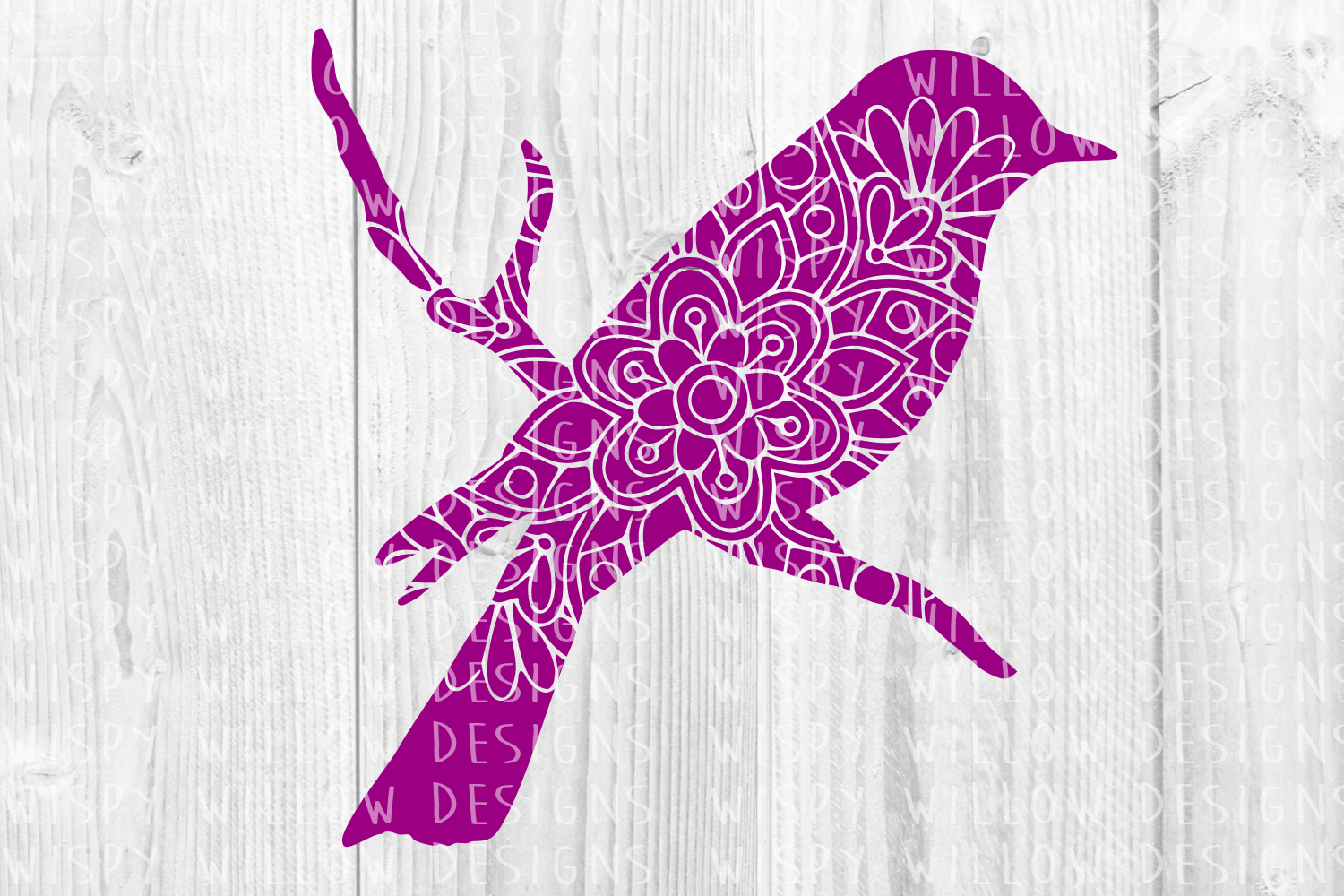 Download Free Bird On Branch Mandala Animal Graphic By Wispywillowdesigns for Cricut Explore, Silhouette and other cutting machines.