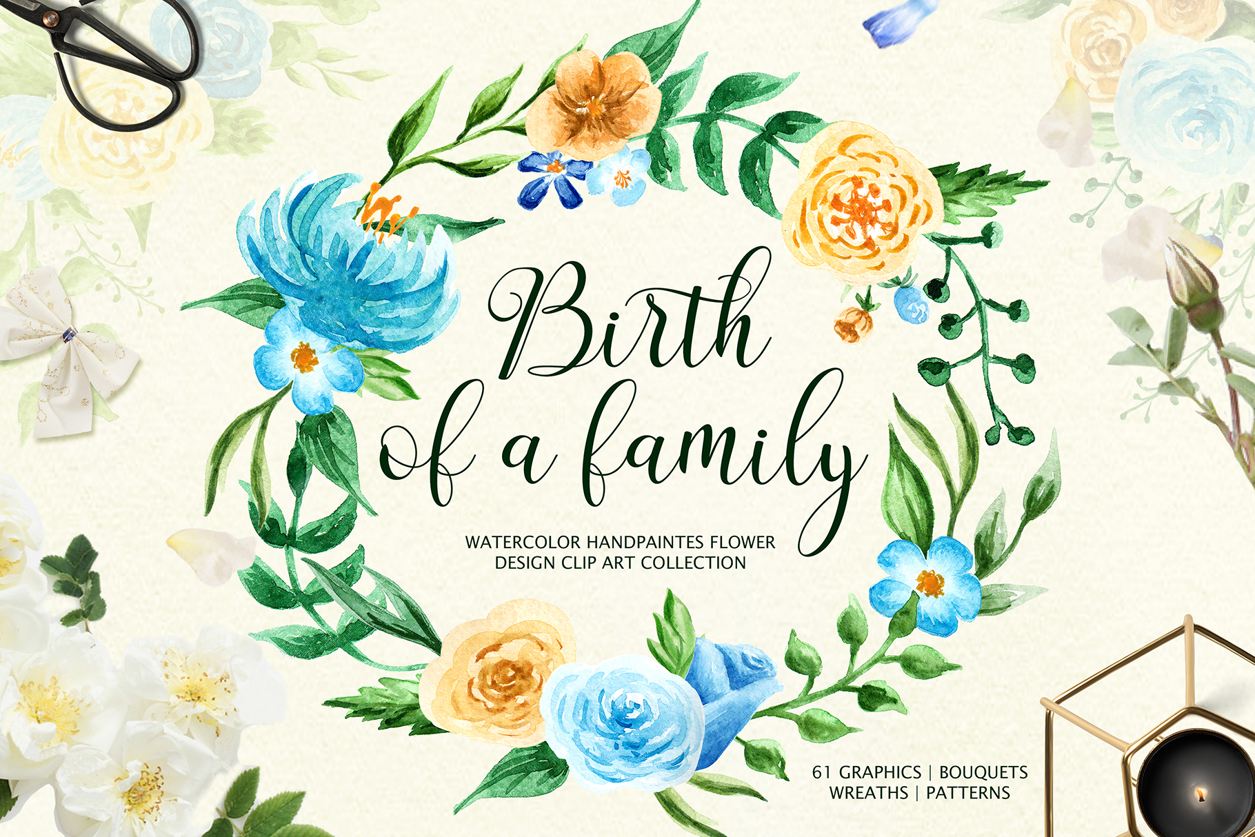 Birth of Watercolor Flower Set Graphic Illustrations By tregubova.jul