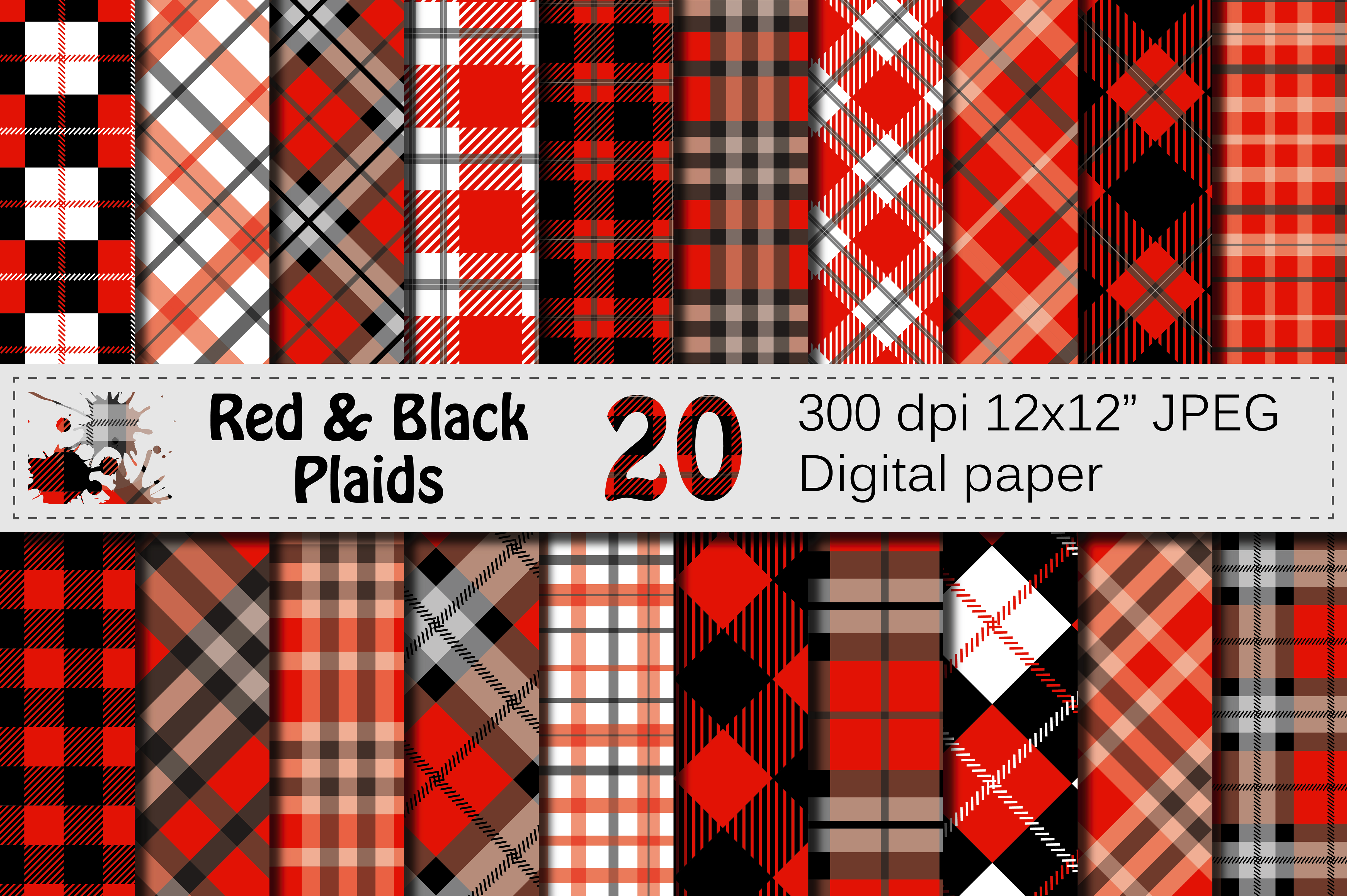 Black and Red Plaids Digital Paper Pack Graphic Backgrounds By VR Digital Design