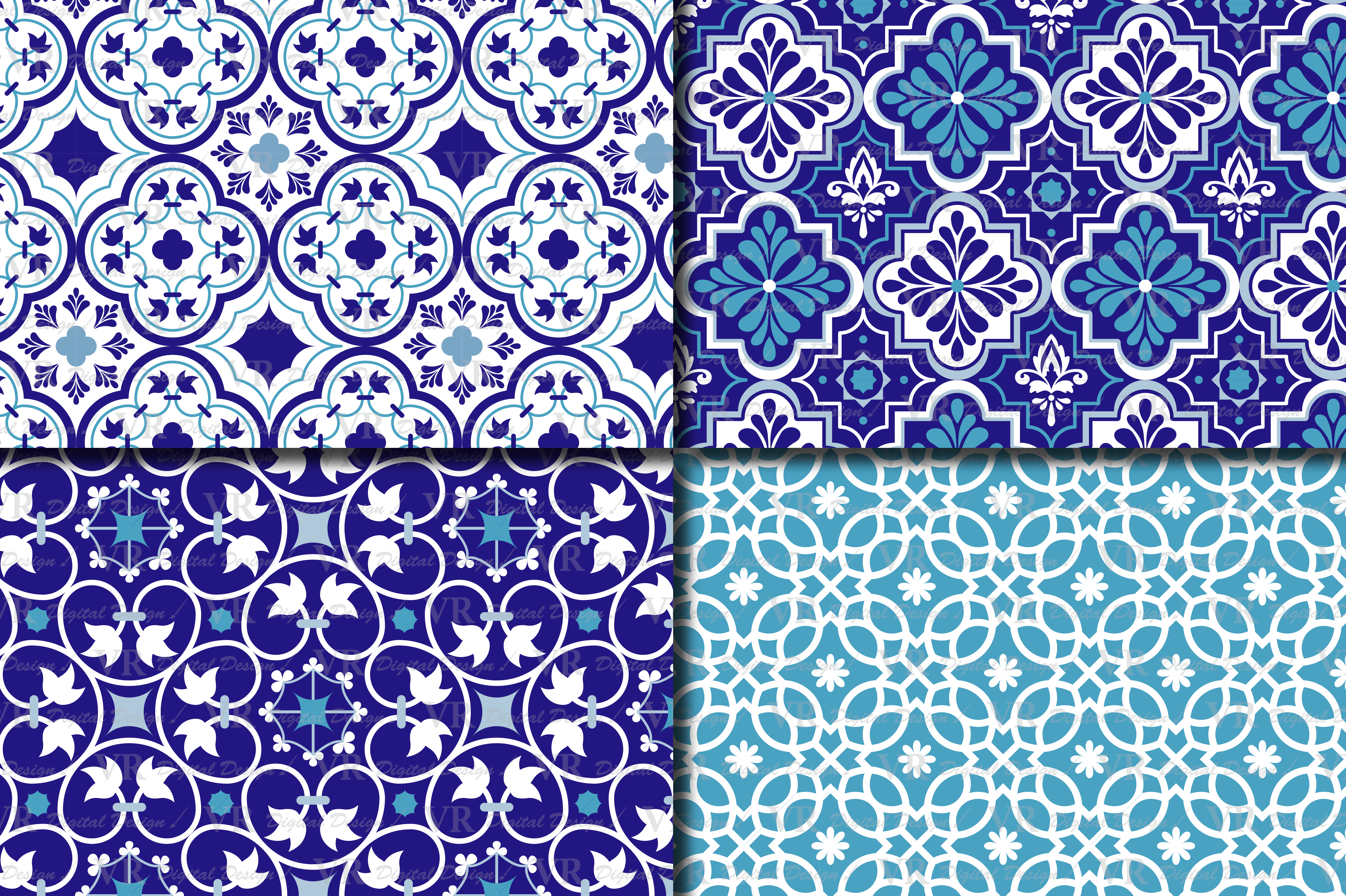 Download Free Blue Moroccan Digital Paper Pack Graphic By Vr Digital Design for Cricut Explore, Silhouette and other cutting machines.