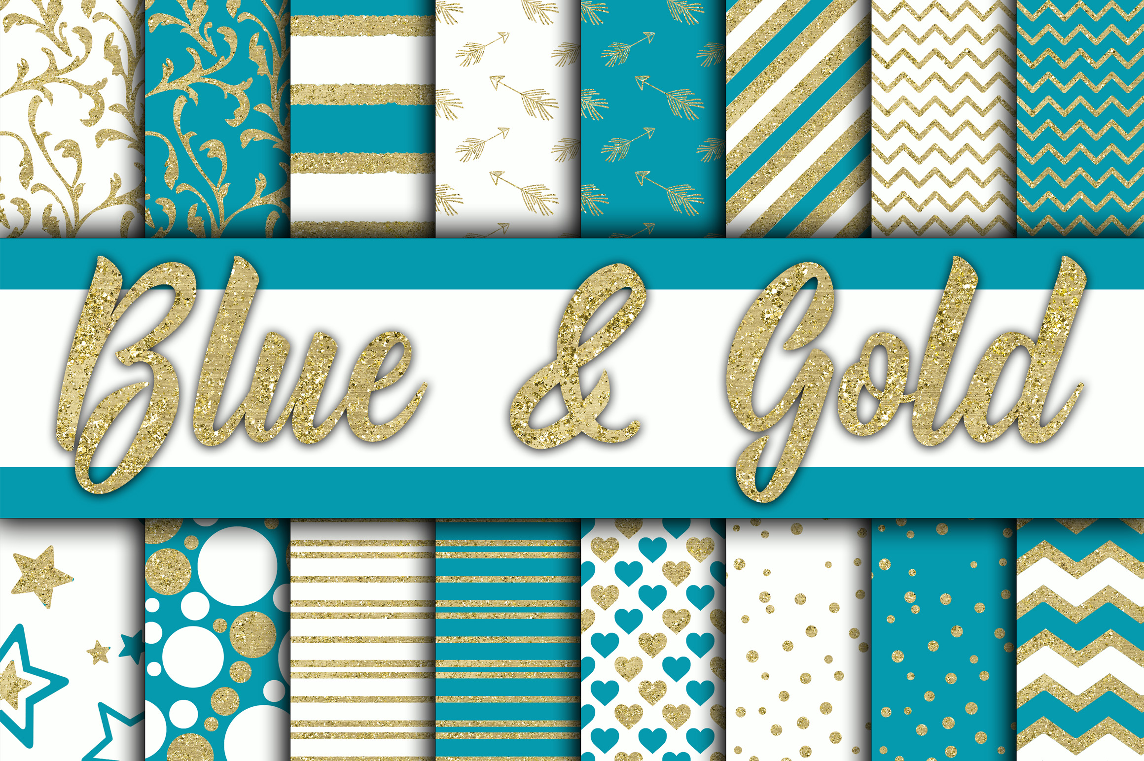 Blue and Gold Digital Paper Graphic Backgrounds By oldmarketdesigns