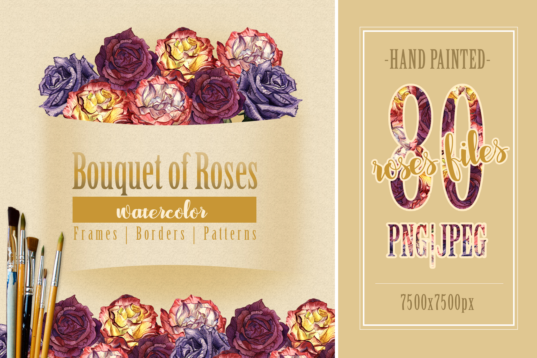 Download Free Bouquet Of Roses Watercolor Set Graphic By Mystocks Creative for Cricut Explore, Silhouette and other cutting machines.