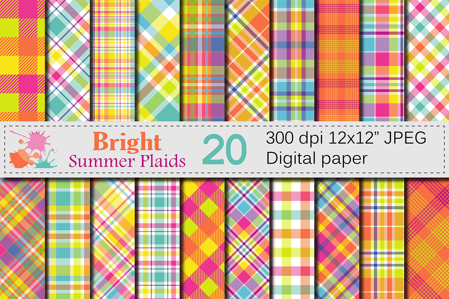 Bright Summer Plaid Digital Paper / Summer Multicolored Plaid Backgrounds / Orange and Yellow Plaid Patterns Graphic Backgrounds By VR Digital Design
