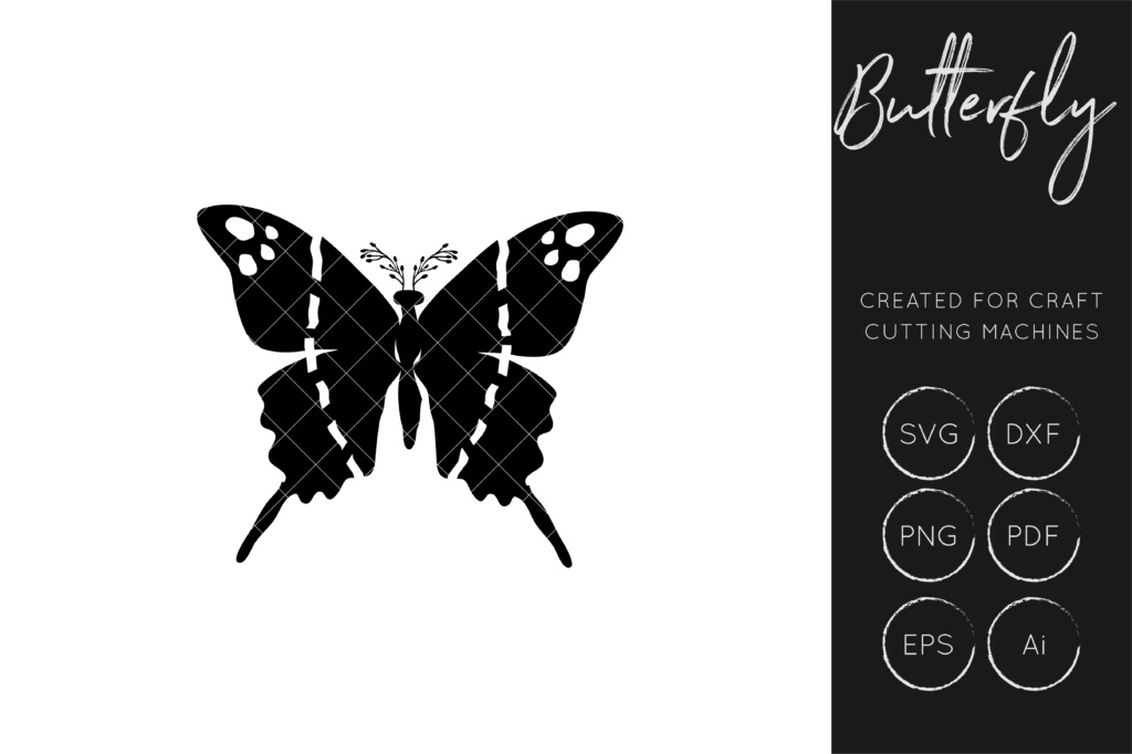 Download Free Butterfly Graphic By Illuztrate Creative Fabrica for Cricut Explore, Silhouette and other cutting machines.